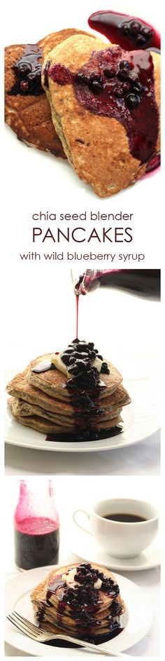 Your perfect Valentine's breakfast! Heart-healthy chia seed blender pancakes drizzled with anti-oxidant packed wild blueberry syrup.