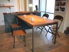 ダイニングテーブル01S|無垢材とアイアンのセミオーダー家具|CODESTYLE