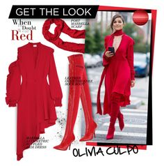"""""""Get the look: Olivia Culpo"""" by hamaly ❤ liked on Polyvore featuring Magda Butrym, Fendi, GetTheLook, red and trends"""