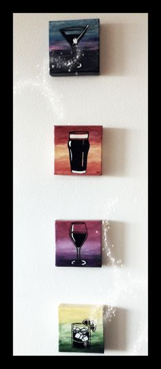 Handpainted alcoholic drinks, acrylic on square canvas and sealed with polyurethane- by EDB