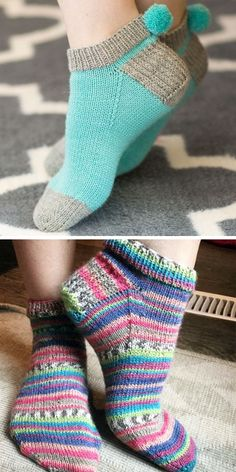 Free Knitting Pattern and Class for Easy Pom Pom Socks – Step-by-step expert i., , Free Knitting Pattern and Class for Easy Pom Pom Socks – Step-by-step expert instruction to knit multicolored footie socks with Wendy Bernard. Free Knit Shawl Patterns, Free Knitting Patterns For Women, Knitted Doll Patterns, Sweater Knitting Patterns, Knitting Socks, Crocheting Patterns, Hat Patterns, Clothes Patterns, Knitted Socks Free Pattern