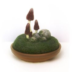 Brown Gnome Mushrooms Pincushion Scene Made by FoxtailCreekStudio