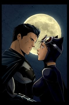 Batman and Catwoman colored.