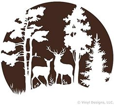 Buck and Doe Deer in the Moonlight, Hunting Vinyl Wall Decal Sticker Art, Removable Home Decor, Mural, Brown Wood Burning Crafts, Wood Burning Patterns, Wood Burning Art, Stencil Art, Stencil Designs, Silhouette Clip Art, Scroll Saw Patterns, Wall Decal Sticker, Pyrography