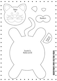 icu ~ Pin by Myriam dos Reis Cedro on DIY - Craft Felt Doll Patterns, Mug Rug Patterns, Animal Sewing Patterns, Stuffed Animal Patterns, Sewing Toys, Sewing Crafts, Sewing Projects, Felt Crafts Diy, Cat Crafts