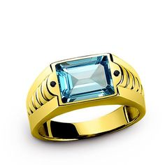 10k Yellow Gold Topaz Mens Ring.......