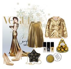 Inspiration nouvel an thème  gold by estellenath on Polyvore featuring polyvore, fashion, style, H&M, A.L.C., Cole Haan, Aspinal of London, Obsessive Compulsive Cosmetics, JINsoon and clothing