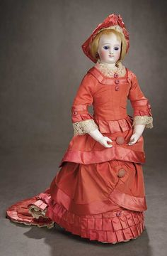 French Bisque Poupee by Gaultier with Wooden Articulated Body and Bisque Hands