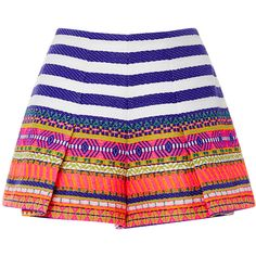 Alexis Karly Pleated Shorts (€510) ❤ liked on Polyvore featuring shorts, short shorts, neon high waisted shorts, aztec print high waisted shorts, aztec print shorts and colorful shorts