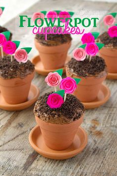 Flowerpot Cupcakes, chocolate devil's food cake baked in mini terracotta flower pots, topped with frosting, Oreo crumbs and pretty paper flowers to mimic flowerpots! (Creative Baking For Kids) Flowerpot Cupcakes - what a cute Spring idea!