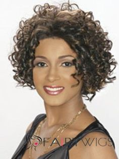 Simple Short Curly Brown African American Lace Wigs for Women