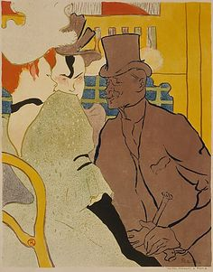 Henri de Toulouse-Lautrec | The Englishman at the Moulin Rouge (Flirt), 1882 | lithograph in 6 colors
