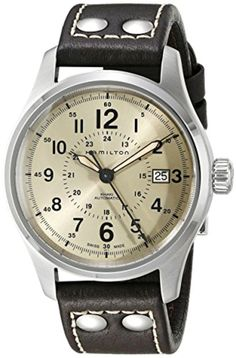Hamilton Men's H70595523 Khaki Field Analog Swiss Automatic Brown Leather Watch - Brought to you by Avarsha.com