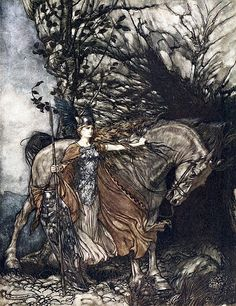 Brunnhilde with her horse ...from Rhinegold and Valkyries series by Arthur Rackham from an opera die Walkure by Richard Wagner