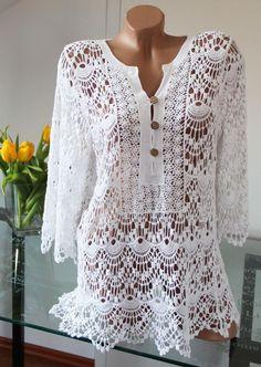 Tunica Branca em Croche