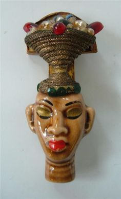 Vtg Elzac Victim Of Fashion Huge Brooch Pin Blackamoor Lady head face CA Pottery                                eB