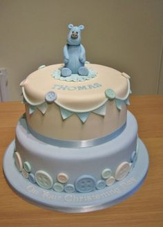 Bear and button christening cake