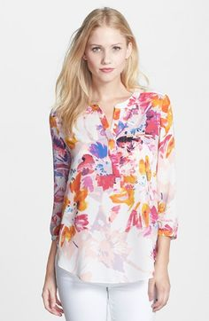 pretty box pleating on the back yoke --> NYDJ Henley Blouse (Regular & Petite) available at #Nordstrom