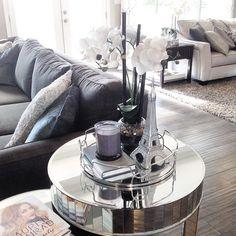 New mirror tray.😍 Because we needed more mirrors...😉 #mirror #mirrortable #mirroredtable #nestingtables #readyforfall #mirrortray #effieltower #whitepumkins #mercuryvotive #orchid #whiteorchid #grayandwhite #woodfloors #home #decor #livingspace #livingroom #homedecor #homedesign #countryliving #perfection #interior #interiordesign #getinspired #decoratingideas #beautifulliving #marshalls