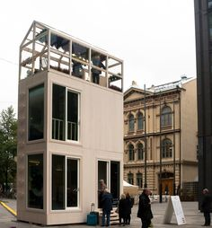 TIKKU is a micro-apartment building by Casagrande Laboratory that has a foot-print of one car parking place x 5 meters Decor Interior Design, Interior Design Living Room, Room Interior, Helsinki, Tiny House Cabin, Tiny Houses, Contemporary House Plans, Modern Contemporary, Micro House