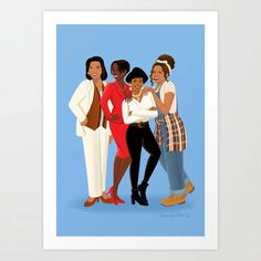 Living Single / Khadijah, Max, Regine & Synclaire Greeting Card by Alleanna Harris Art - Set of 3 Folded Cards x Living Single, Canvas Prints, Art Prints, Latest Generation, Folded Cards, Mix N Match, Buy Frames, Printing Process, Illustrators