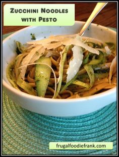 Zucchini Noodles with Pesto- Looking for a healthier option to fill your warm carby craving? Here you go :)