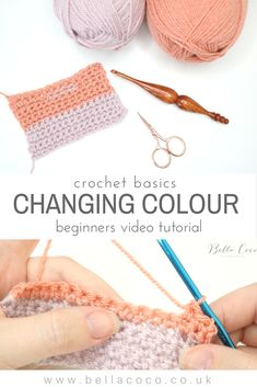 How to change colours in crochet. Easy video Tutorial by Bella Coco