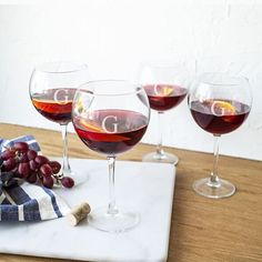 Personalized Red Wine Glasses (Set of 4) (B), Clear/B