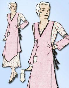 1930s Rare Vintage Farm Kitchen Apron Uncut Mail Order Sewing Pattern Size 36-38 #MailOrderPattern #ApronPattern
