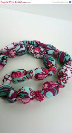 ON SALE Pink Teal Aqua Blue Fabric Necklace Nursing by RubyRebels, $10.79
