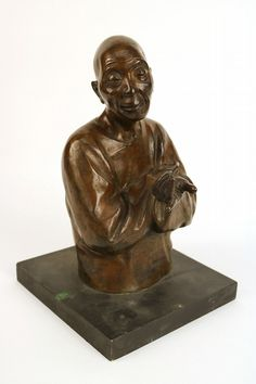 """GASTON hauchecorne Bronze Sculpture of a Man Signed and stamped. 12-1/2""""h, without base.. Provenance: Property sold for the benefit of the Newark Museum Acquisition Endowment."""