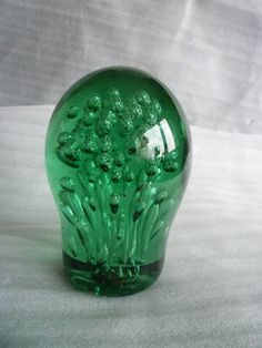 Victorian Hand Blown Oval Green Glass Dump End Of Day Paperweight Airbubbles