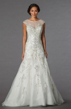 Bridal Gowns: Sophia Moncelli A-Line Wedding Dress with Illusion Neckline and Dropped Waist Waistline