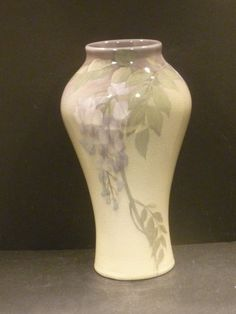 "Rookwood Iris Glaze Vase With Lavender Wisteria -Lenore Asbury - 9 3/4""  - MINT"