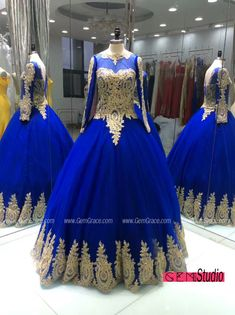 Custom Royal Blue Ballgown Formal Prom Dress with Long Sleeves Embroidery. Custom with heart by GemGrace. Want this wedding dress? We can make it at affordable price for you. Click view more ideas!