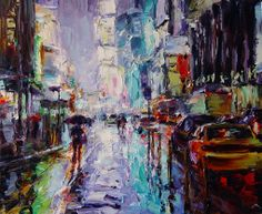 "Lyudmila Agrich at Mirada Fine Art, 'Urban Glow,' Original Oil on Canvas, 30"" x 36"".  Available at Mirada Fine Art."