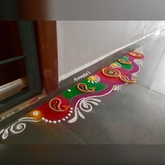 Simple Rangoli Border Designs, Rangoli Simple, Indian Rangoli Designs, Rangoli Designs Latest, Rangoli Designs Flower, Rangoli Borders, Rangoli Patterns, Colorful Rangoli Designs, Border Embroidery Designs