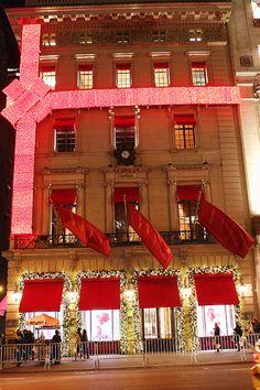 New York City, NYC at Christmas.  Walking down 5th Avenue