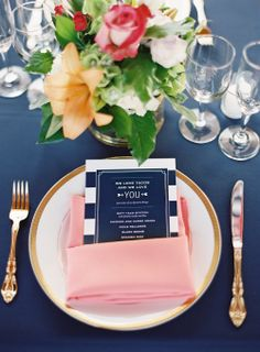 Navy, coral and Gold Wedding.  Table Setting. Menu Cards. Stop and Stare Events (www.stopandstareevents.com)