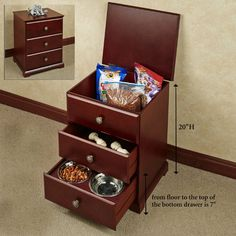 Pet Food Hideaway Storage Unit With Bowls