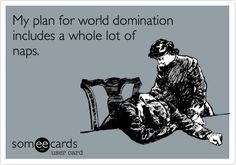 My plan for world domination includes a whole lot of naps. Narcolepsy.
