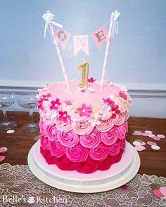 Pink Ombre Buttercream Rosette First Birthday Cake #cake #firstbirthdaycake…