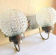 Bronze Filigree Metal Wall Light Fixture with Beautiful Glass Globe Covers Ornate 2 Two