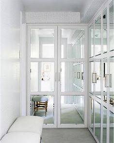closets.. mirrors reflect light and make the small space feel open.