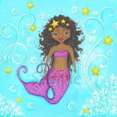 Mermaid Wall Art African American Black Mermaid Childrens Wall by WallFlowerArtShop,