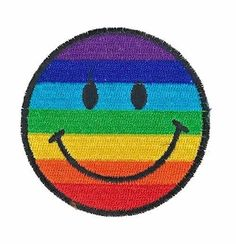 """Rainbow Smiley Face Embroidered Patch 2.75"""" Iron On DIY Gay Pride Punk Applique #Embroidered"""