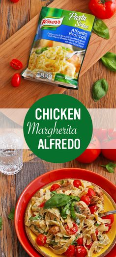 Want an easy recipe for flavorful, homemade dinner goodness?  Try Knorr's Chicken Margherita Alfredo! 1. Season chicken with salt and pepper, then cook 2.  Mix water and milk in the same skillet, then add Knorr® Italian Sides™ - Alfredo Broccoli and stir until pasta is tender 3. Combine with chicken, tomatoes, and fresh basil.