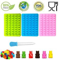 Harko Green Pink Blue 50 Cavities Silicone Gummy Bear Mold Chocolate Mold Candy Maker Ice Tray Jelly Moulds With Bonus Dropper Gummy Bears, Chocolate Molds, Cavities, Pink Blue, Jelly Moulds, Home Improvement, Bakeware, Ice Tray, Candy