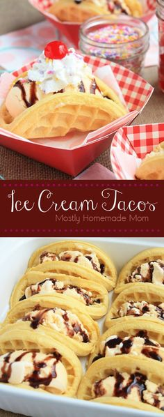 Ice Cream Tacos - Waffles filled with ice cream and toppings make a fun twist on dessert tacos! This one is a kid favorite! These Ice Cream Tacos use frozen waffles filled with vanilla ice cream and various toppings for a fun dessert recipe! Frozen Desserts, Frozen Treats, Just Desserts, Dessert Recipes, Diabetic Desserts, Fun Recipes, Party Recipes, Taco Dessert, Delicious Recipes