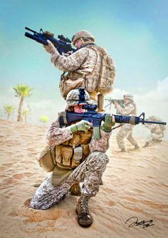 US troops in Iraqi desert during Operation Desert Storm- by Jake Hays